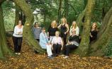 Mrs Alice Kennedy pictured with her eight  daughters in the Castle Park. Left to Right Allison,Mary,Jan,Ann,Alice,Tracy,Margaret,Josie and Sally