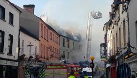 Kilkenny Fire - Flames shooting from the roof of historic building