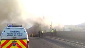 Kilkenny Fire - see the smoke billowing across John's Bridge