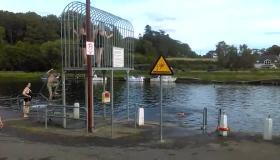 Summer swimming fun in the River Barrow at Graignamanagh