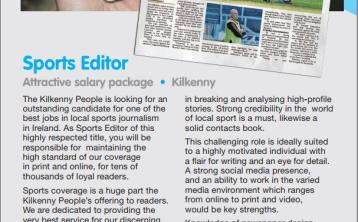 Applications being accepted for Sports Editor role at Kilkenny People