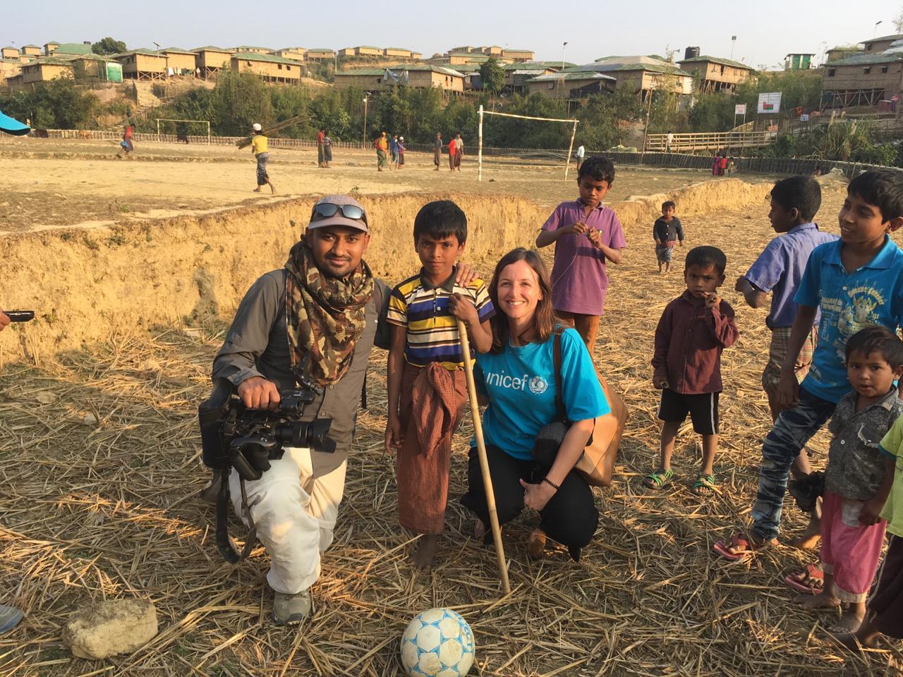 Karen with Jubair, who lost his leg fleeing Myanmar